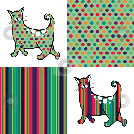 Retro style cats and backgrounds. stock vector clipart, Retro style cats with their respective textures aside. Colorful dots and lines backgrounds by Cienpies Design