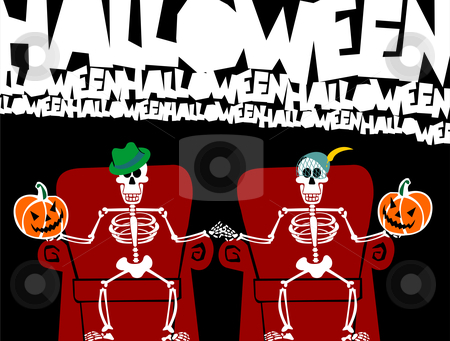Halloween skeleton couple. Funny greeting card stock vector clipart, Halloween skeleton couple holding pumpkins, sitting on a red couch. Black background. Usable as greeting card. Vector available by Cienpies Design