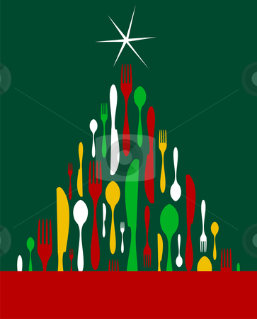 Christmas Tree Cutlery  stock vector clipart, Christmas Tree Cutlery. Fork, spoon and knife pattern forming a tree with a shiny white star on top. Green background. Usable as invitation card. Vector file available. by Cienpies Design