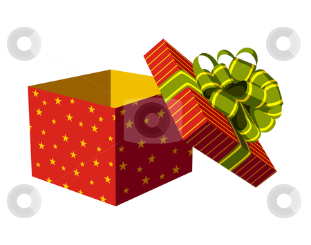 Open gift box  stock vector clipart, Red open gift box with green and golden ribbon. White background. Vector available by Cienpies Design