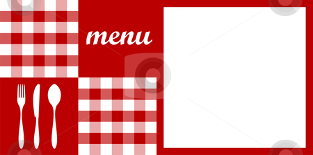Menu design. Red tablecloth, cutlery and white for text stock vector clipart, Food, restaurant, menu design with cutlery silhouettes, red tablecloth texture and white space for sample text. Vector available by Cienpies Design