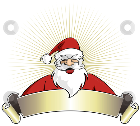 Christmas series: Happy Santa Claus with blank banner stock vector clipart, Happy Santa Claus with blank banner on golden striped background. Vector illustration by Cienpies Design