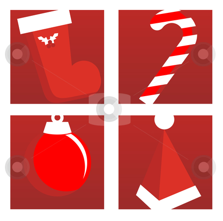 Christmas icons stock vector clipart, Christmas Icons on Red Background. Vector available by Cienpies Design