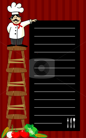 Chef recommendations stock vector clipart, Funny chef on several wooden benches, holding a blackboard where the recommendations are written daily. Vegetables at left corner. Striped red background. by Cienpies Design