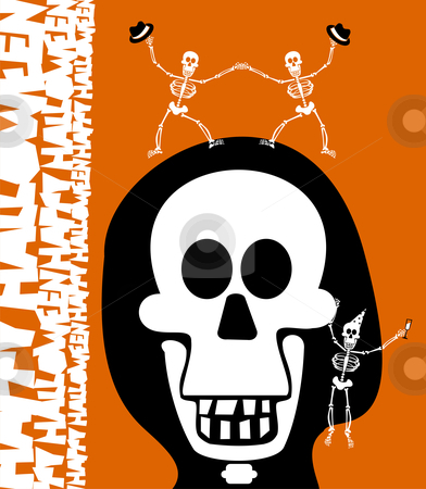 Halloween greetings. Skulll Background stock vector clipart, Halloween skull and skeletons, dancing and celebrating the evening. Orange background. Vector available by Cienpies Design
