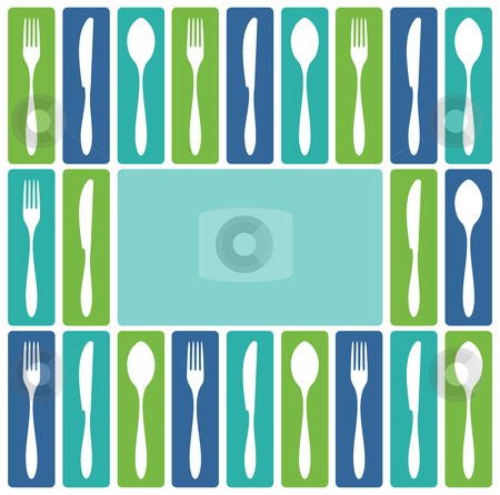 Cutlery frame stock vector clipart, Food, restaurant, menu design with cutlery icons as frame. Fork, knife and spoon silhouettes on different backgrounds. Vector avaliable by Cienpies Design