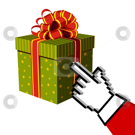 Christmas gift and Santa buying online stock vector clipart, Christmas gift and Santa e-buying with a handcursor. E-commerce concept. White background. Vector illustration by Cienpies Design