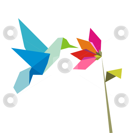 Origami flower and hummingbird on white stock vector clipart, Origami pastel colors hummingbird and flower on white background. Vector file available. by Cienpies Design