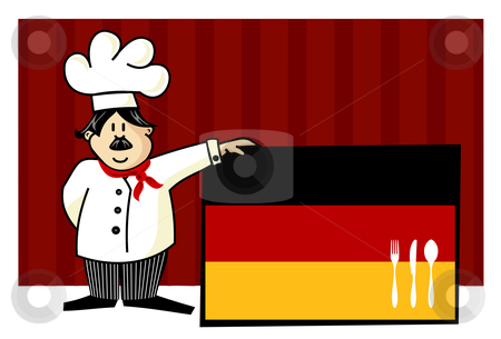 Chef of german cuisine stock vector clipart, Chef of german cuisine. Food, restaurant, menu design with cutlery silhouette on the country flag. Striped red background. Vector available by Cienpies Design