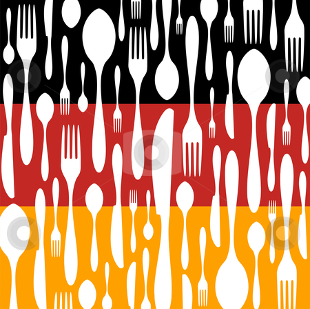 German Cuisine: Cutlery pattern on the country flag stock vector clipart, German Cuisine. Cutlery silhouettes: spoon, knife and fork pattern on black, red and yellow wide striped background as an icon of the country flag. Vector available by Cienpies Design