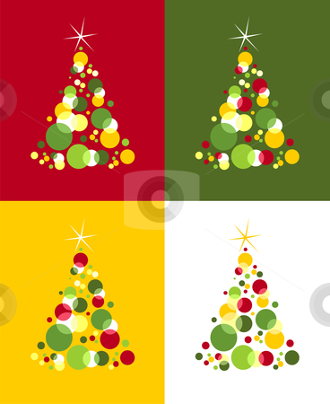 Christmas trees pattern. Colored bubbles with star on top stock vector clipart, Four patches of red, yellow, and green bubbles forming a Christmas tree with a shiny star on top. Colored backgrounds. Vector available by Cienpies Design