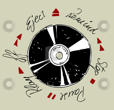 Vinyl Record  stock vector clipart, Vinyl record and written words of tape functions. Vector available by Cienpies Design
