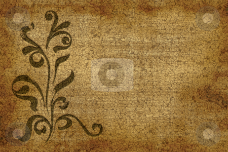 Floral grunge design stock photo, Large floral grunge design on old paper or parchment by Phil Morley
