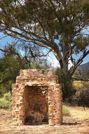 Chimney stock photo, Just a stone chimney is all that remains of the farmhouse by Phil Morley
