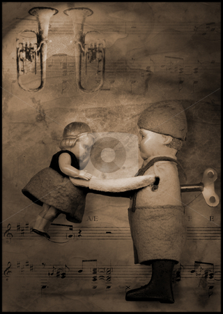 Waltz wind-up tin toy illustration stock photo, Still life of wind-up toy with music sheet in backgrund and brass instruments by Tracy lorna Nors