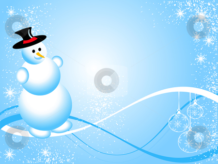Christmas Snowman illustration stock vector clipart, A sky blue christmas scene with a snowman and swirls and snowflakes by Mike Price