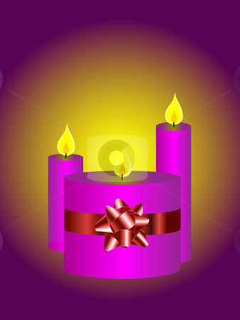 A vector illustration with a set of three candles on a purple background  stock vector clipart, A vector illustration with a set of three candles on a purple background can be used as christmas illustration by Mike Price