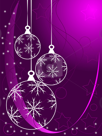 An abstract Christmas vector illustration with white outline baubles  stock vector clipart, An abstract Christmas vector illustration with white outline baubles on a purle backdrop with white snowflakes and room for text by Mike Price