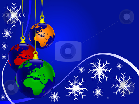 An abstract Christmas vector illustration with world earth globe baubles stock vector clipart, An abstract Christmas vector illustration with world earth globe baubles on a darker backdrop with white snowflakes and room for text by Mike Price