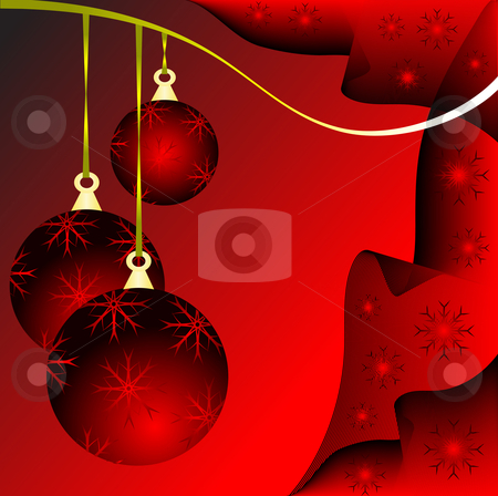 An abstract Christmas vector illustration with red baubles  stock vector clipart, An abstract Christmas vector illustration with red baubles on a darker backdrop with white snowflakes and room for text by Mike Price