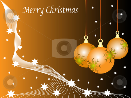 An abstract Christmas vector illustration with orange baubles  stock vector clipart, An abstract Christmas vector illustration with orange baubles on a darker backdrop with snowflakes and room for text by Mike Price