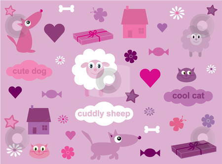 Collection of fun stuff for girls - 2 stock vector clipart, Vector illustration of a collection of fun elements for girls (I have other files of this type) by Rachel Gordon
