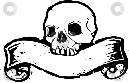 Banner Skull #2 stock vector clipart, Pirate Skill with woodcut banner beneath. by Jeffrey Thompson