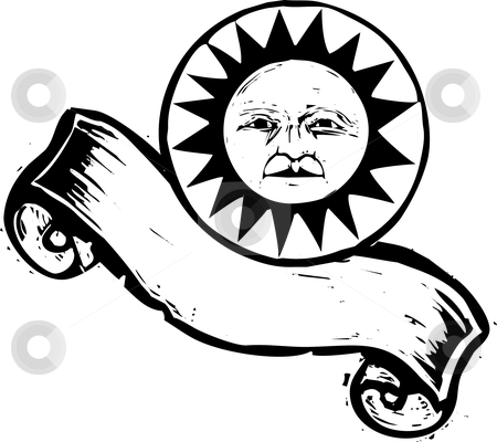 Sun Banner #2 stock vector clipart, Sun with face above a woodcut banner. by Jeffrey Thompson