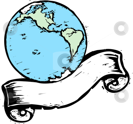 Earth Banner #1 stock vector clipart, Shot of the Americas on a an earth with scroll banner. by Jeffrey Thompson