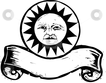Sun Banner #1 stock vector clipart, Sun with face above a woodcut banner. by Jeffrey Thompson