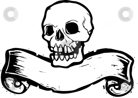 Banner Skull #1 stock vector clipart, Pirate Skill with woodcut banner beneath. by Jeffrey Thompson