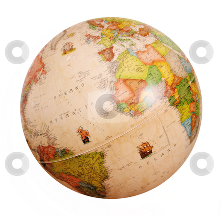 Planet stock photo, Earth globe over white background, isolated image by Giuseppe Ramos