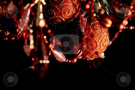 Christmas stock photo, Christmas decorations on a black background. Night image by Giuseppe Ramos
