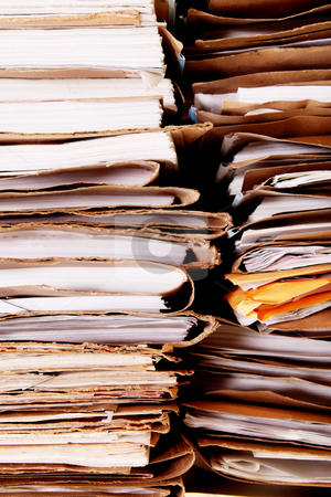 Papers stock photo, Tower of dirty and old office paper by Giuseppe Ramos