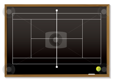 Tennis court blackboard stock vector clipart, Black board with white tennis court outline and ball by Michael Travers