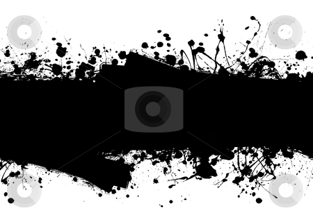 Roller ink splat stock vector clipart, Black ink splat background with roller marks and text space by Michael Travers
