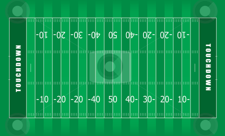 American football field stock vector clipart, Illustrated american football field with green stripes and white lines by Michael Travers