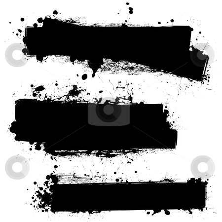 Black ink blank stock vector clipart, Three ink splat banners with grunge effect in black by Michael Travers