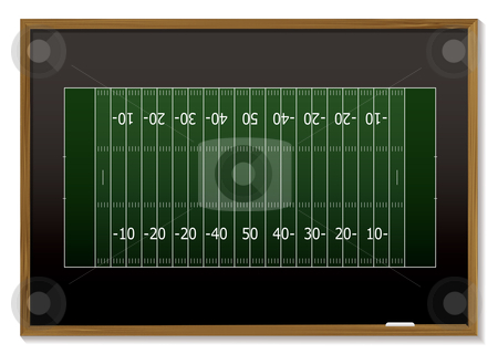 American football blackboard stock vector clipart, American football field with chalk markings on black board by Michael Travers