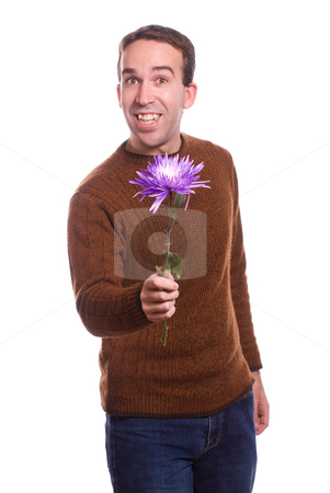 Flower Guy stock photo, A young guy is holding a large flower, isolated against a white background by Richard Nelson