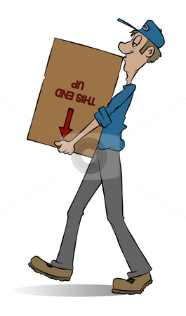 Mover stock photo, A mover carrying a box. He doesn't seem to care what's in the box. by Jonathan Cooke