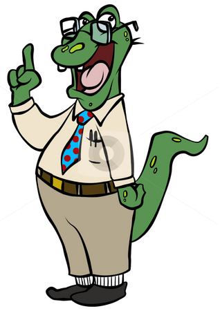Nerdy Alligator stock photo, A nerdy reptile who obviously knows what he's talking about. by Jonathan Cooke