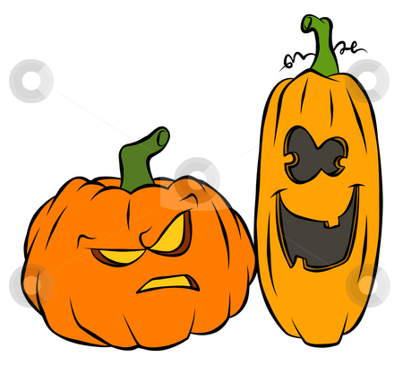Halloween Pumpkins stock photo, A couple of carved pumpkins ready for halloween. One seems to be a bit 'dim'. by Jonathan Cooke