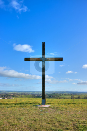 Cross of christ in field stock photo, Cross of christ in field on a perfect summers day by Phil Morley