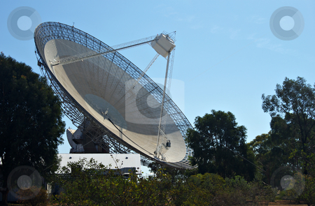 Radio telescope stock photo, The huge satellite dish that is the receiver for parkes radio telescope by Phil Morley