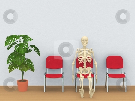 Skeleton in a waiting room stock photo, Digital render of a skeleton sitting in a waiting room by Oliver Klimek