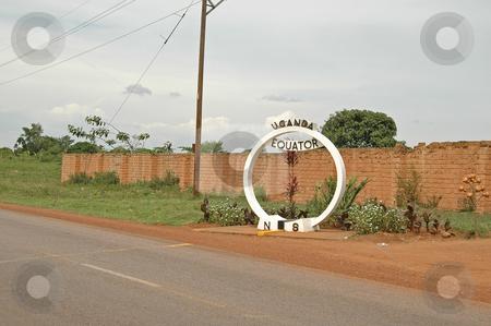 Equator Uganda stock photo, Marker and line for the Equator, Uganda by Susan Robinson