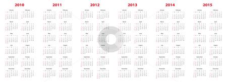 Calendar for 2010 through 2015 stock vector clipart, Simple calendar for years 2010, 2011, 2012, 2013, 2014 and 2015. by Germán Ariel Berra