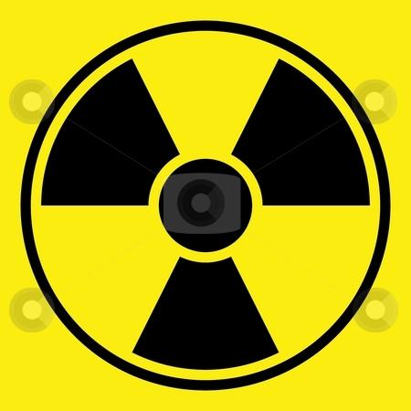 Radiation Warning Sign stock photo, Round radiation warning sign on yellow background by Henrik Lehnerer
