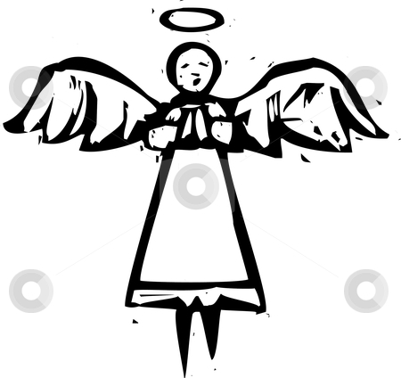 Tall Angel Woodcut stock vector clipart, Tall angel in black and white in a woodcut style. by Jeffrey Thompson